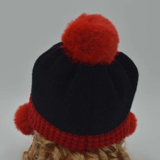 New Year Beanie Hat with Real Fur or Faux Fur POM