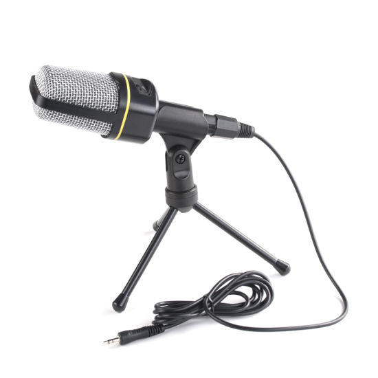 Desktop Mic Condenser Computer Microphone with Volume Adjustment Tripod Holder