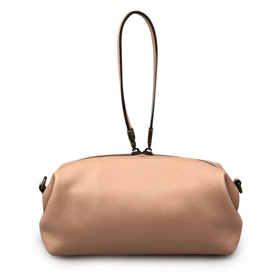 Women Genuinie Leather Make up Pouch Cowhide Shoulder Cosmetic Bag