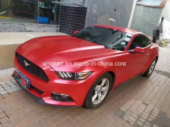 China Newest Matte Chrome Diamond Red Vinyl Film Car Wrap Vinyl With