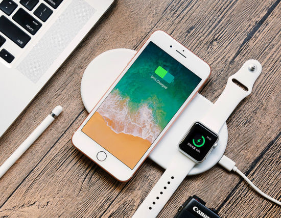 the latest 40304 06392 2 in 1 Qi Wireless Charger 7.5W Fast Charging Pad Quick Charge 2.0 for  Apple Watch iPhone 8