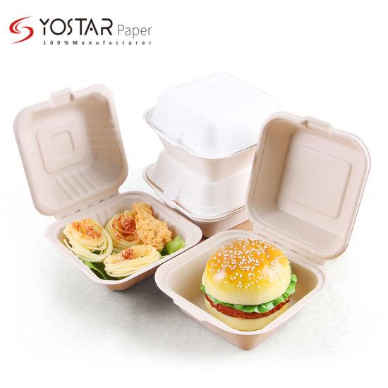"100% Biodegradable Sugarcane Baggasse 6"" Hamburger Box, Clamshell Box, Kitchenware"