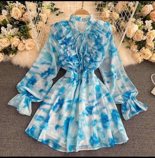 Fashion Chiffon Long Sleeve Medium Casual Lady Dress