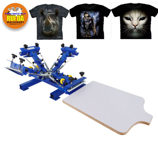 c9a1fb92 4 Color 1 Station Silk Screen Printing Machine Micro-Registration Screen  Printing Press for T-Shirt