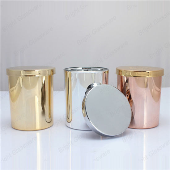 Decorative Copper Gold Silver Glass Candle Holder with Metal Lid pictures & photos