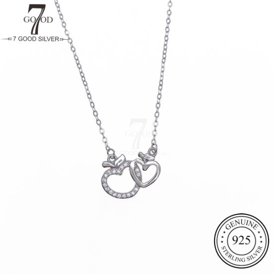 OEM Custom Fashion 925 Silver Jewelry Necklace with Ttwo Heart Charm pictures & photos