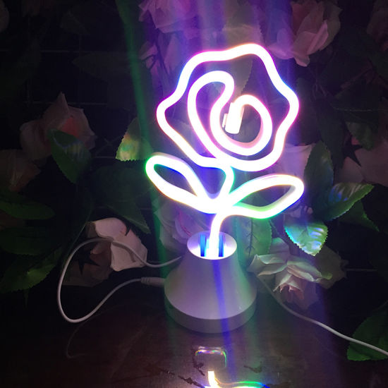 China Factory Making Table Motif Light LED Neon Lamp Rose