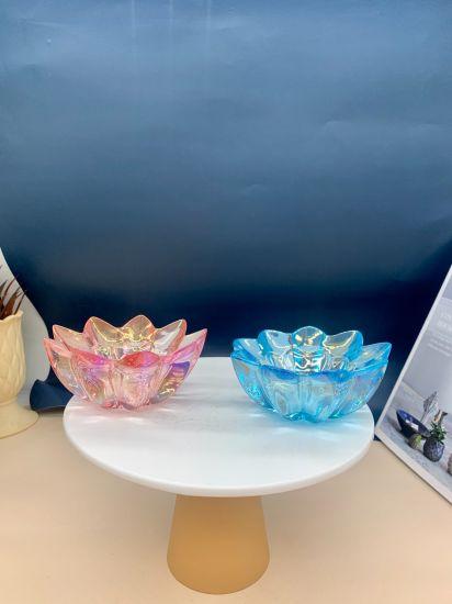 Flower Shaped Glass Candlestick Glass Handicraft Household Chrysanthemum Candlestick Ornaments Handmade Flower Living Room Glass Decorative