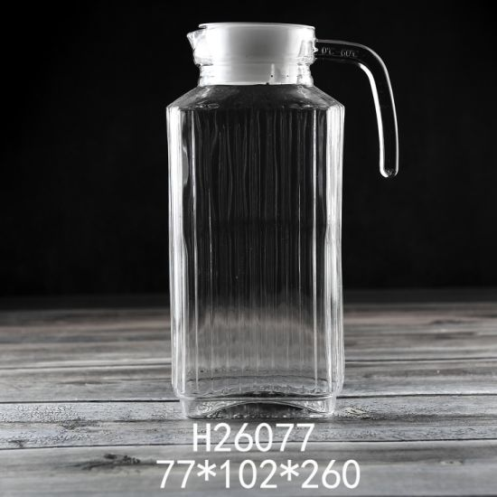 1800ml High White Glass Color Glassware Wholesale Glass Tea Pot Glass Bottle Customized Logo Glass Water Pot (H26077)