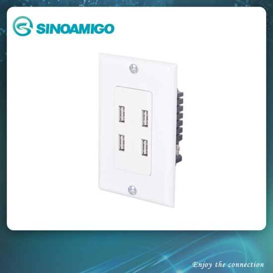 Powered USB Charger with Electric Switch Wall Socket