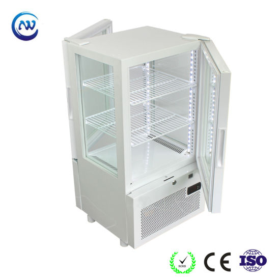Mini 4 Sides Glass Door Counter Top Display Chiller for Beverage Yy-63W