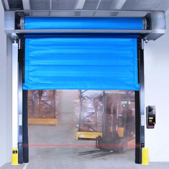 Industrial Automatic PVC Fabric Thermal Insulated Freezer Room High Speed Fast Acting Overhead Rapid Rise Performance Roll up Doors for Cold Storage Warehouse