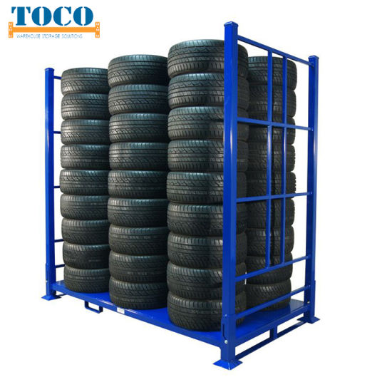 China Company Custom Built Carpet Roll Collapsible Stackable Pallet Rack with Wood Deck