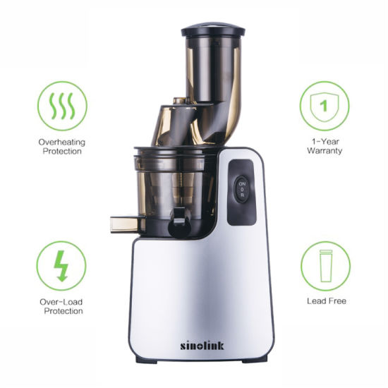 Slow Juicer with Large Diameter Feeder Inlet and Mechanical Switch