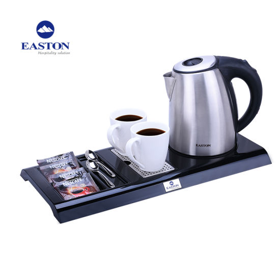 Hotel Stainless Steel Electric Kettle with Tray Set