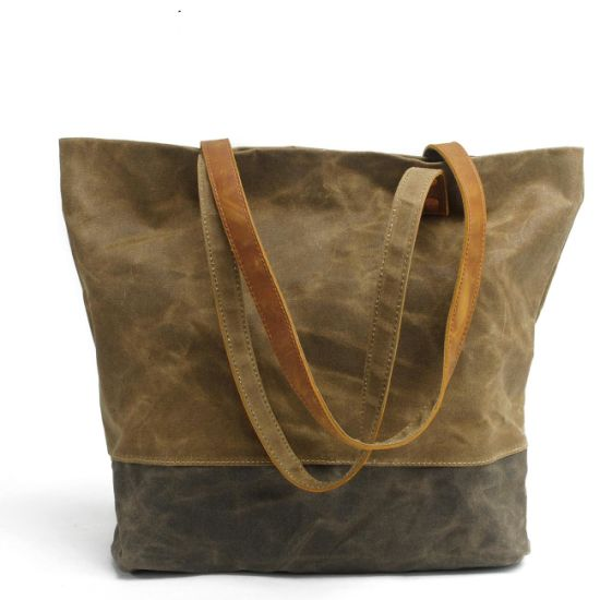 8568633d38 New Design Waxed Canvas Shoulder Bag Waterproof Shopping Tote Bag  (RS-62250-p)