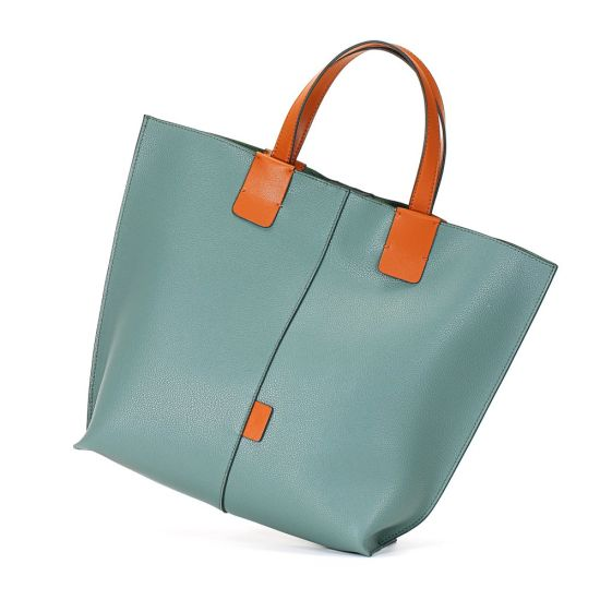 New Design Lake Green Soft Genuine Leather Women Tote Lash Hand Bag
