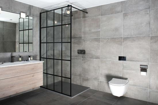 Frame Grid Style Black Shower Screen