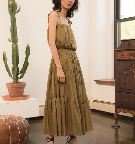 Lady Long Pretty Tier Brown Maxi Dress with Shoulder Ties pictures & photos