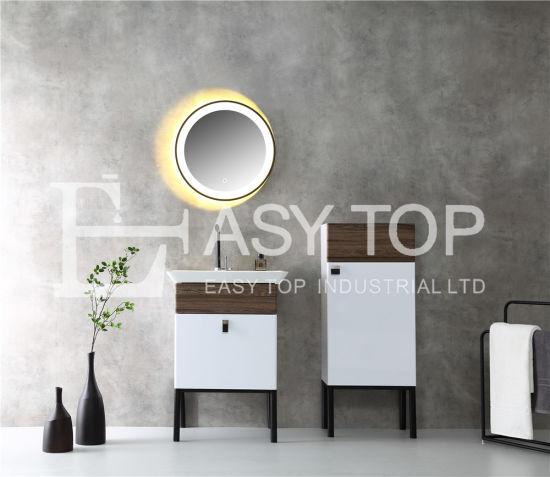 in Stock Chinese Hot Sales Popular White + Walnut Floor Mounted One Sink Bathroom Vanity Sets