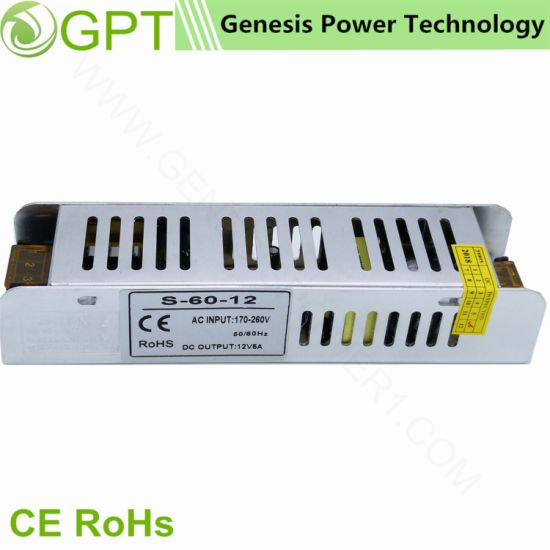 60W12V Switching Mode Classic Slim DC LED Transformer Power Supply, Single Output Switch Mode LED Driver AC DC Power Supply