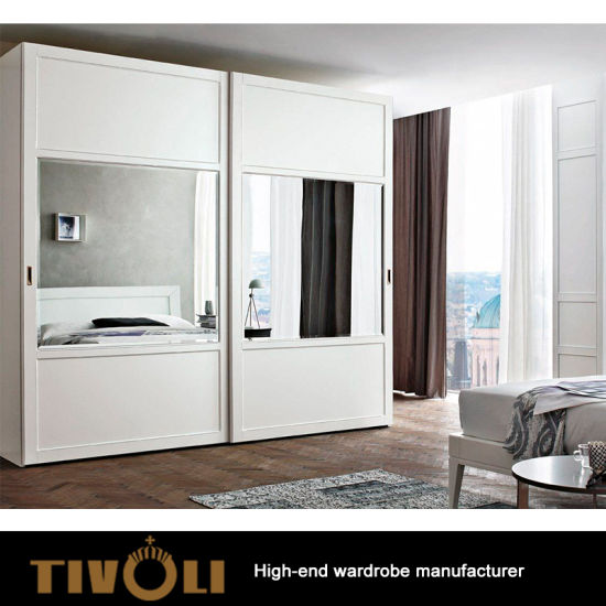 White Wooden Design Three Door Wardrobe Bedroom Sliding Door With Mirror  High Gloss Wardrobe Closet TV 0350