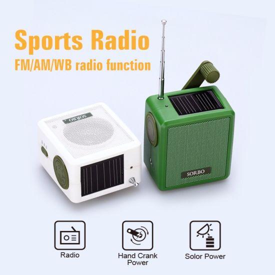 e3bd209348e Mini Am FM Portable Radio Solar Wind up Radio USB Powered Rechargeable Radio