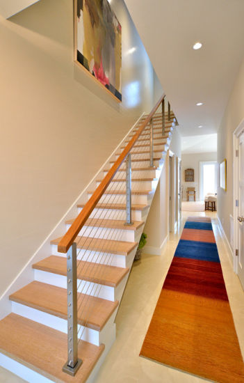 Interior Stainless Steel Cable Rails Closed Riser Wooden Steps Straight Staircase