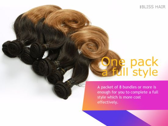 "100% Virgin Hair Indian Straight Two Tone Color 8"" 8PCS One Pack Full Head pictures & photos"