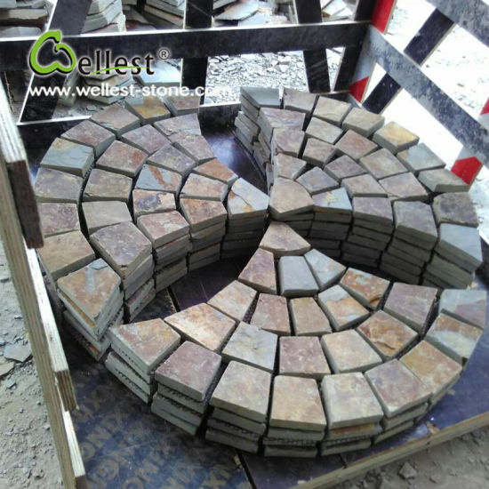 Rusty Slate Cobblestone Meshed Paving, Driveway, Walkway Paving pictures & photos