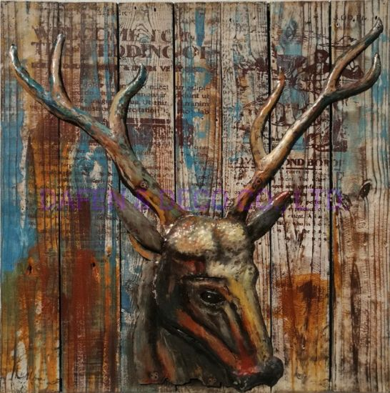 Metal Decoration Oil Painting Wall Art Elk Iron Head and Antlers 3D Dimension