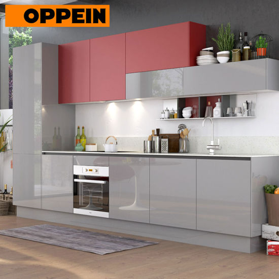 360cm Width Standard Red And Grey High Gloss Kitchen Cabinet Op17 A01 Pictures