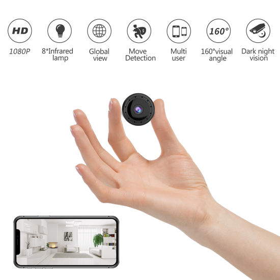 1080P Black Mini Wireless Home Security Camera with Night Vision