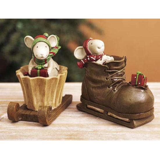 Christmas Gift Polyresin Christmas Mouse Factory