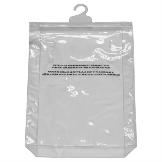 High Quality Printed Gusset PVC Hook Bags for Shirts (FLH-8701)