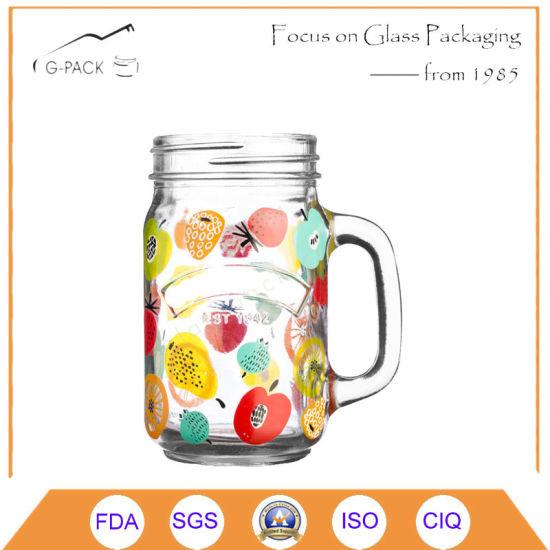 Glass Mason Jar, Drinking Glass with Handle and Printing