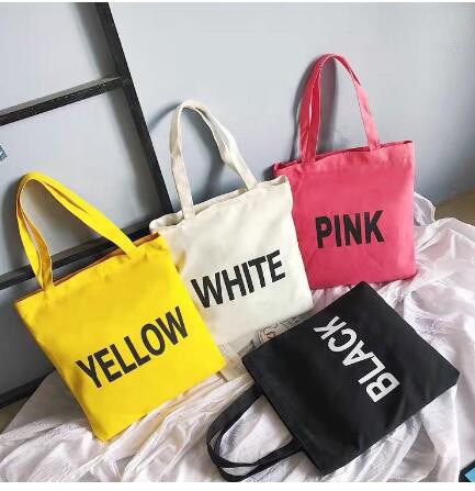 Promotional Natural Foldable Handle Women Printed Shoulder Cotton Canvas Tote Shopping Bag