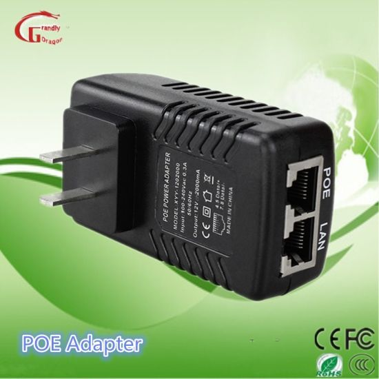 China 24W Poe Injector Gigabit 12V 2A Poe Power Adapters