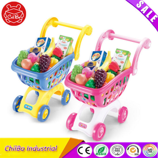 Kids Plastic Shopping Cart Fruit Toy Play Set pictures & photos