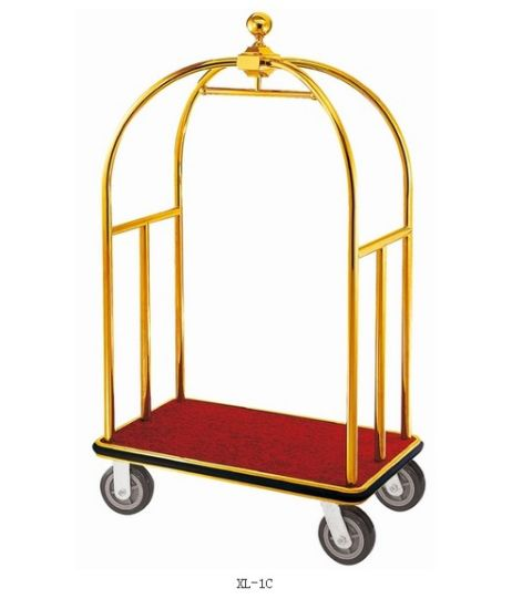 Wholesale Stainless Steel Bellman Hotel Service Luggage Trolley Baggage Cart