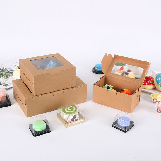 Kraft Paper Cupcake Box Bakery Cake Container with Insert Display Window Dessert Storage Boxes Gift