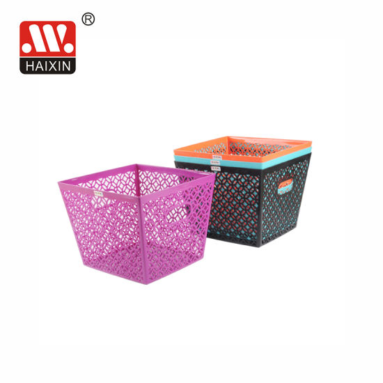 Square Plastic Storage Basket for Home Household Office with Hole for Handle