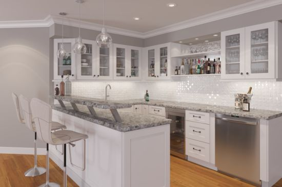 White Shaker Style Kitchen Cabinet With, White Shaker Kitchen Cabinets With Quartz Countertops