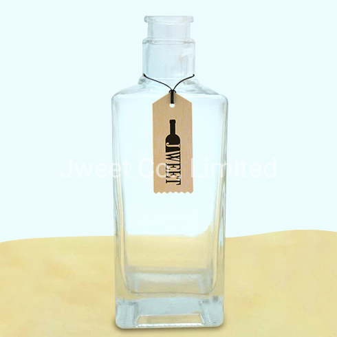 Wholesale Square Transparent Vodka Super Flint Glass Bottle with Cork