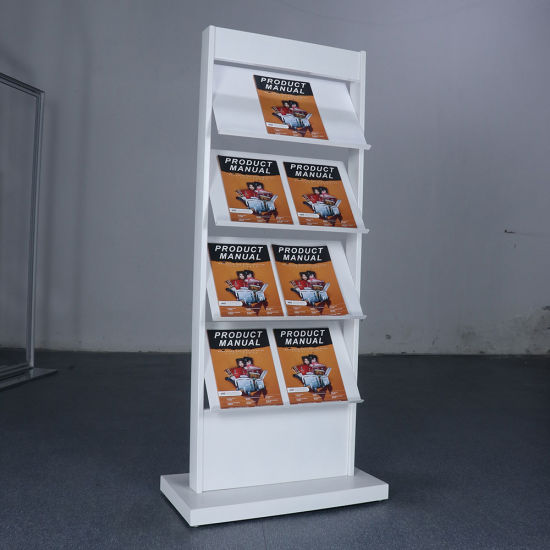 CHUNSHENN Literature Floor Stand Folding Information Frame Portable Newspapers Newspapers and Magazines Propaganda Advertising Display Poster Racks Book Racks Color : Brown, Size : 140x35cm