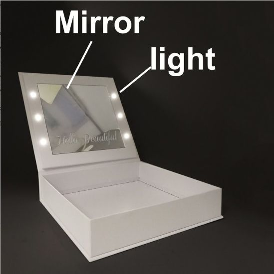 Custom Luxury Book Shape Fold Packaging LED Light Gift Paper Box with Mirror