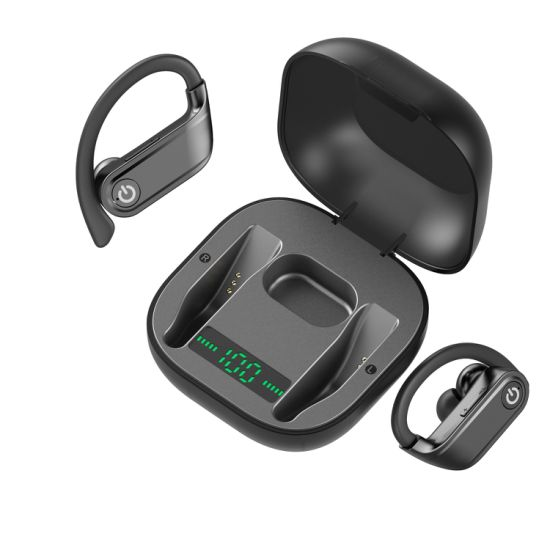 China 624001085511 6ear Hook Tws Wireless Earbuds With Lcd Battery Display And Charging Case For Beats Powerbeats Pro China Digital Display Tws Earphone