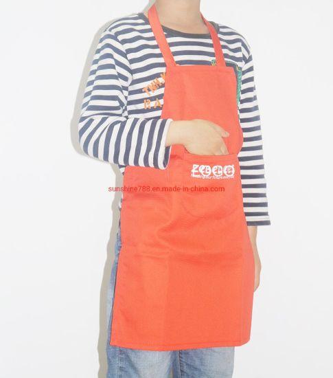 Custom Promotion Cotton Polyester Painting Cooking Orange Kids Apron