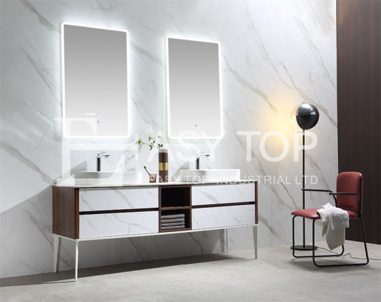 in Stock Chinese New Design Fashionable Marble Color Floor Mounted Double Sink Bathroom Sink Cabinet