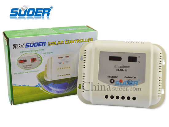 Suoer 24V 15A Intelligent PWM Solar Panel System Charge Controller (ST-G2415) pictures & photos